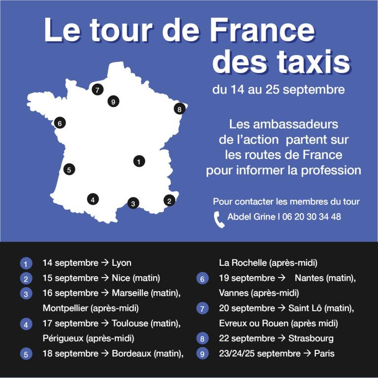 Plan des arrêts effectués par les ambassadeurs d'Action Taxis lors de leur Tour de France des Taxis
